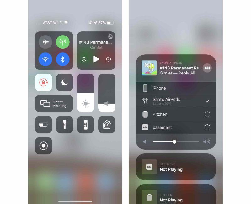 bảng điều khiển âm nhạc trên iphone