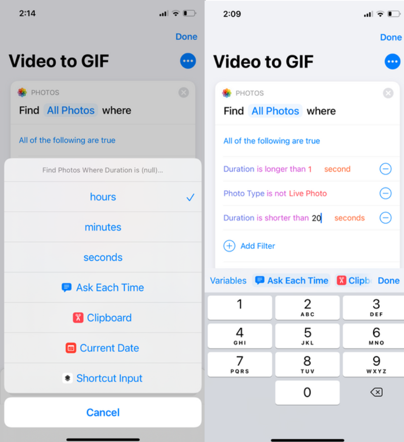 changing video duration action in shortcut