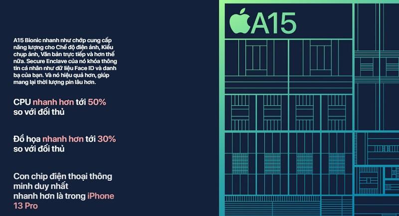 iPhone 13 Series sử dụng chip A15 Bionic mới nhất của Apple
