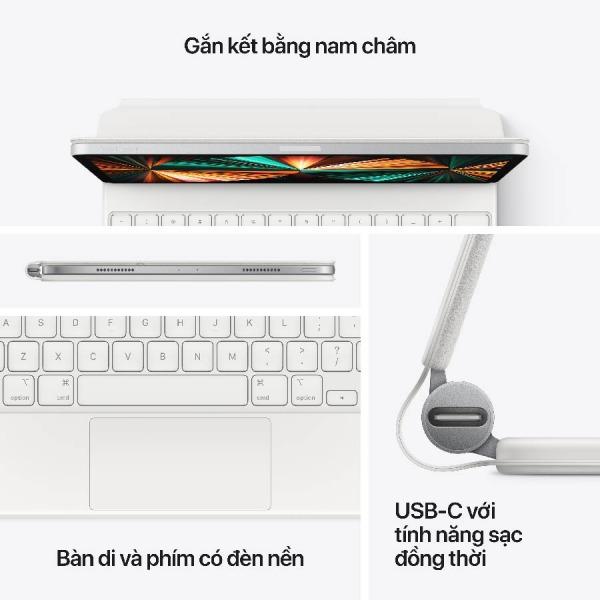 MAGICKEYBOARD129-WHITE - Bàn phím Magic Keyboard cho Apple iPad Pro 12.9inch Chính hãng VN A - White - 6
