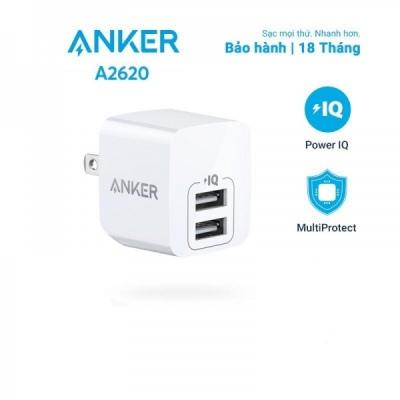 Cốc Sạc Dual USB-A 12w Anker PowerPort Mini A2620