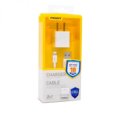 COMBO CỐC CÁP PISEN I CHARGER 1A,5W A TO LIGHTNING