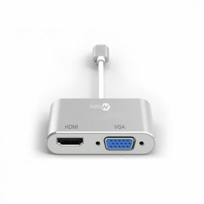 Hub chuyển đổi MAZER ALU Mini DP DUAL Adapter to (HDMI + VGA Adapter)