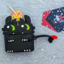 Case Silicon AIRPODS hình Toothless - mèo đen