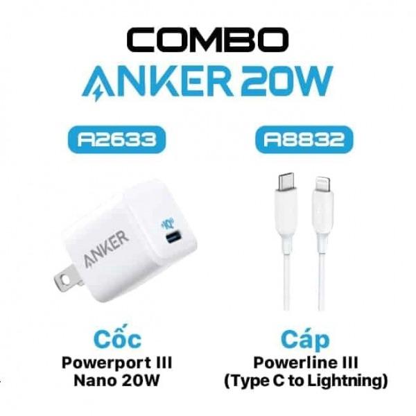 A2633+ A8832 - Combo Cáp và Sạc nhanh Anker USB-C to Lightning 20w