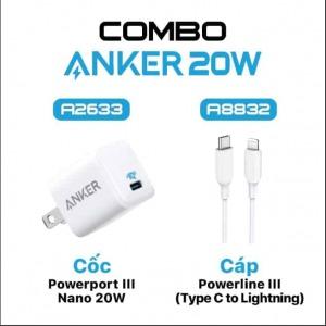 Combo Cáp và Sạc nhanh Anker USB-C to Lightning 20w