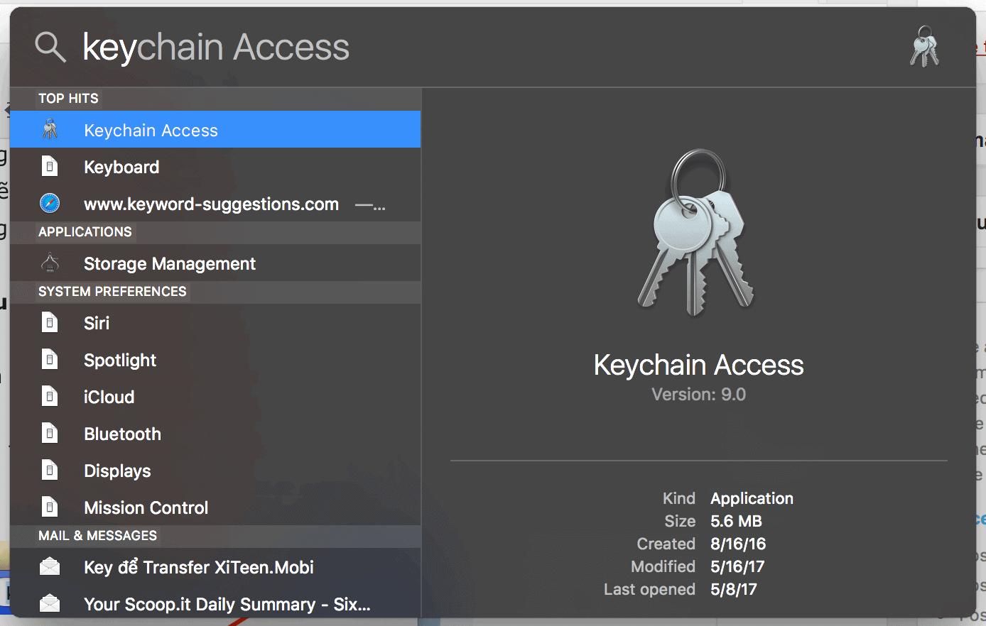 mở Keychain Access