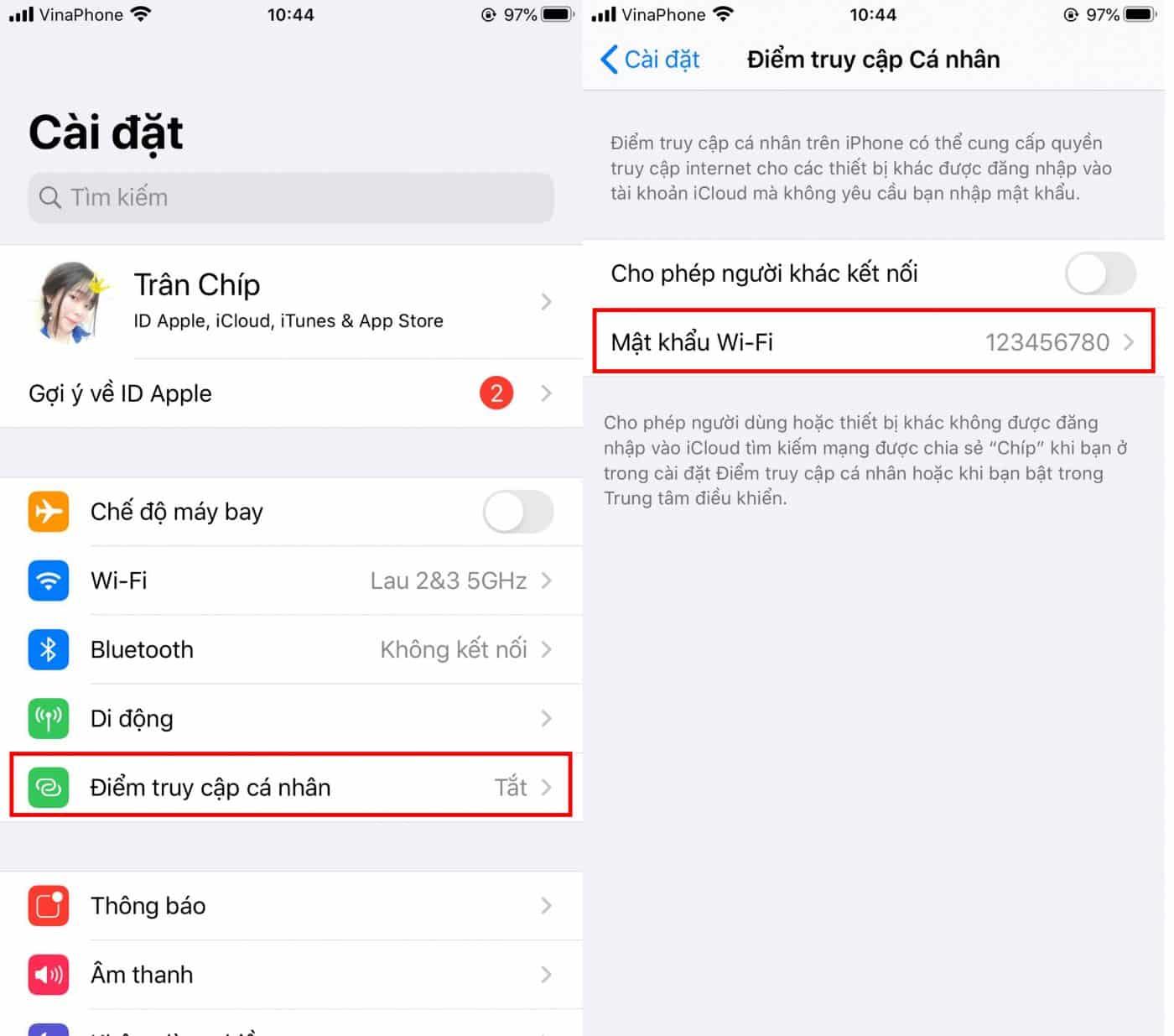 xem mật khảu wifi trên iPhone