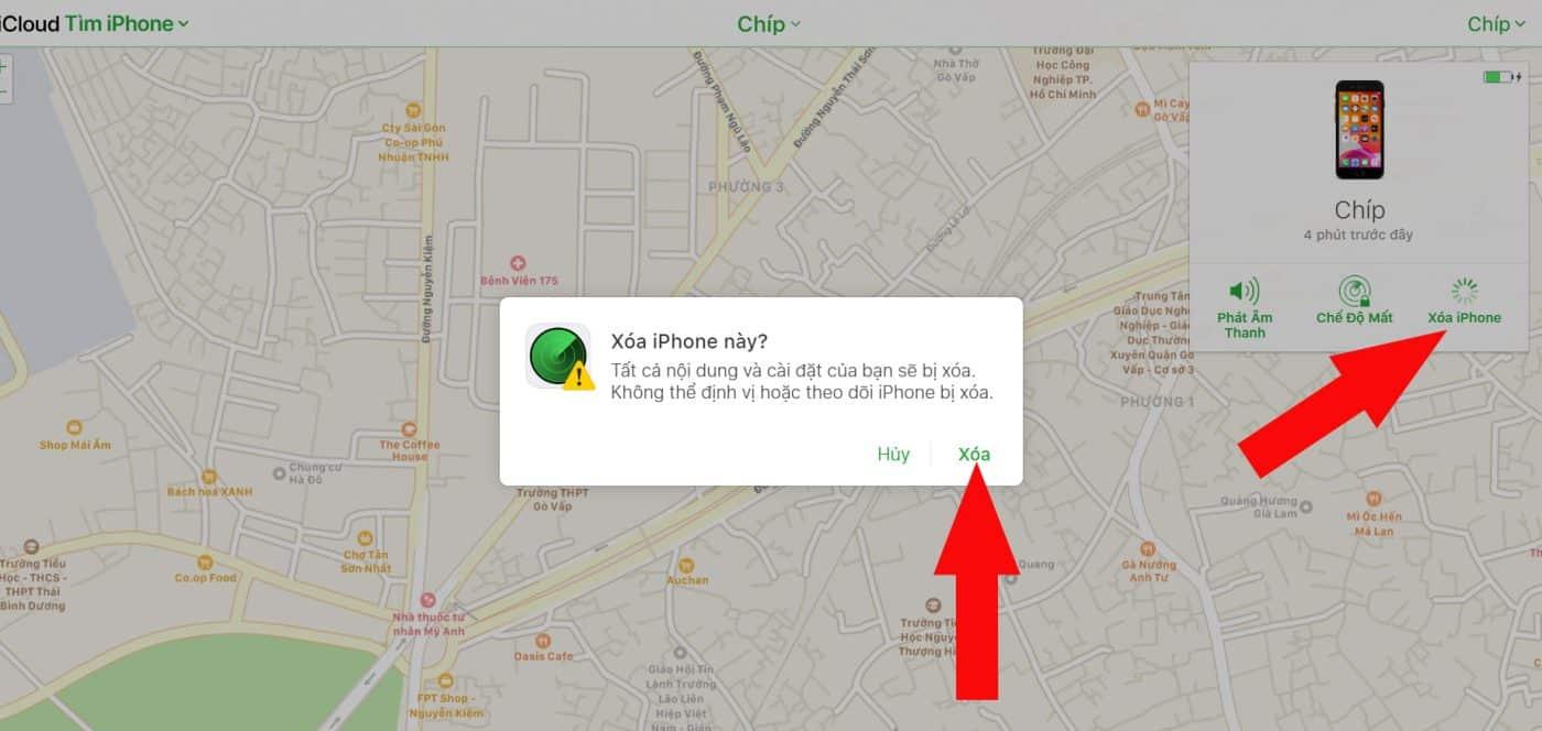 xóa iPhone