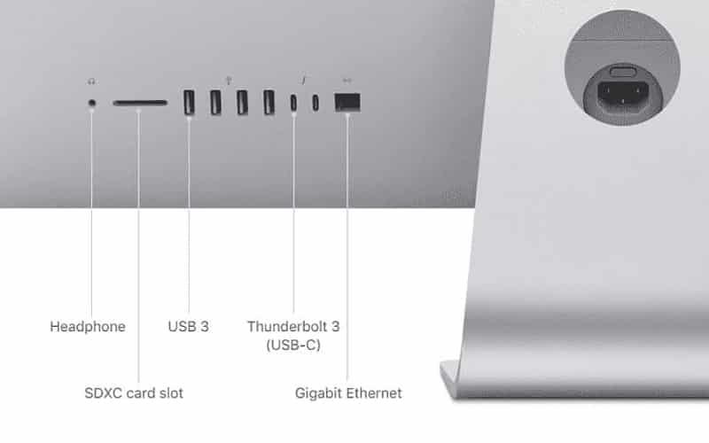 Cổng kết nối của iMac 4K 2019 21/5 i3