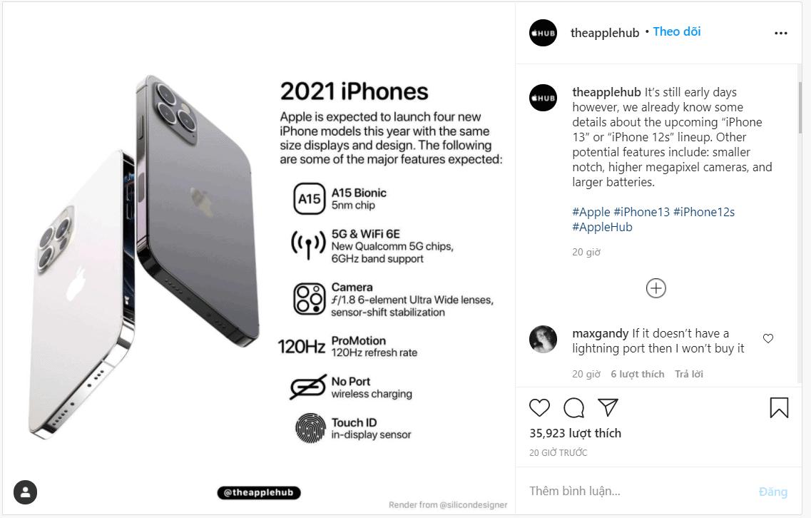iPhone 13 2021 có gì hot: Chip A15, bỏ cổng sạc, màn hình 120Hz, Touch ID dưới màn hình,…