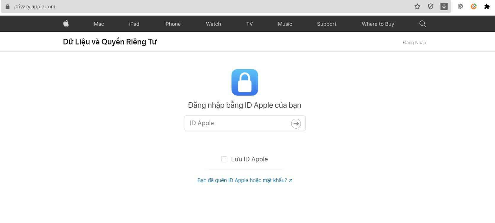 đăng nhập Apple ID