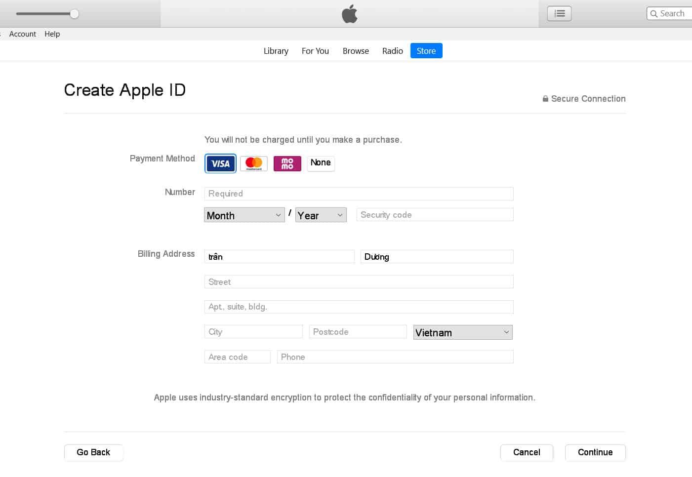 Nhập thẻ tín dụng và thông tin thanh toán